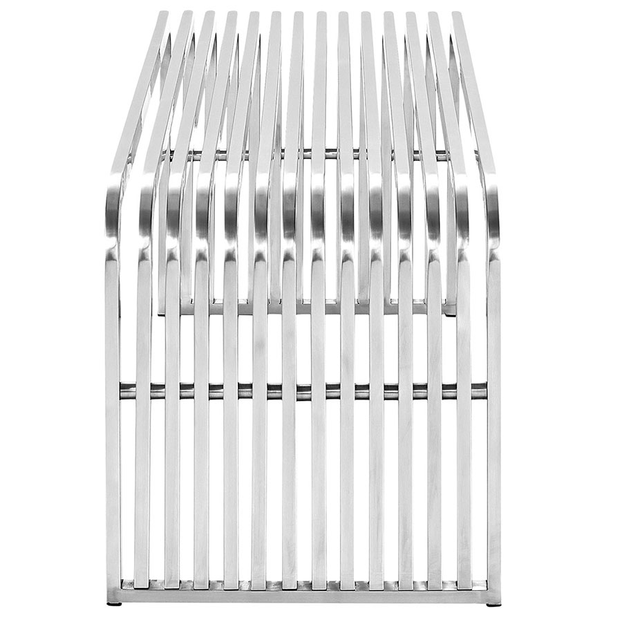 Parliament Modern Stainless Steel Bench - End View