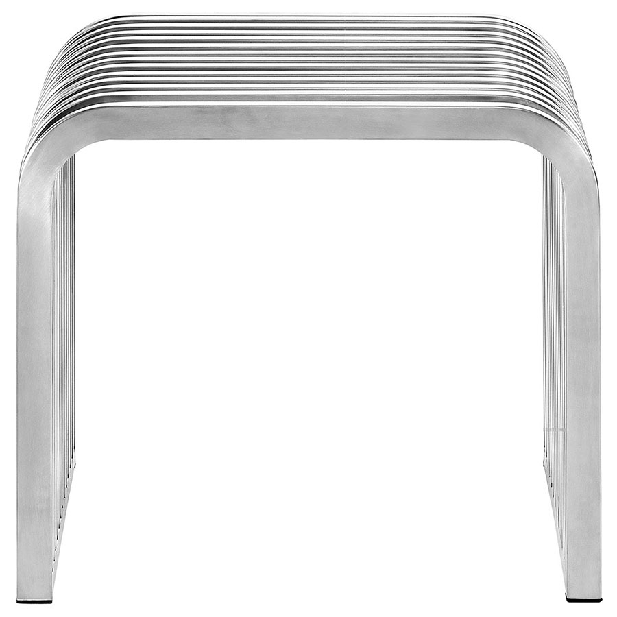 Parliament Modern Short Stainless Steel Bench - Front View