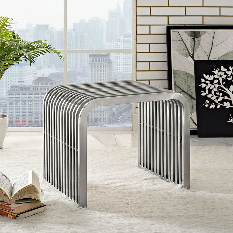 Parliament Contemporary Short Stainless Steel Bench