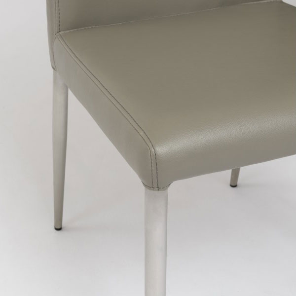 Taupe and Brushed Stainless Steel Parnell Side Chair