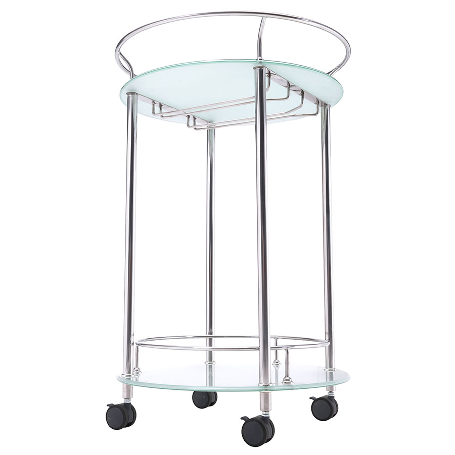 Pavel Glass + Chrome Modern Serving Cart