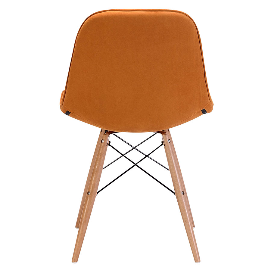 Pavia Orange Tufted Velour Contemporary Dining Chair