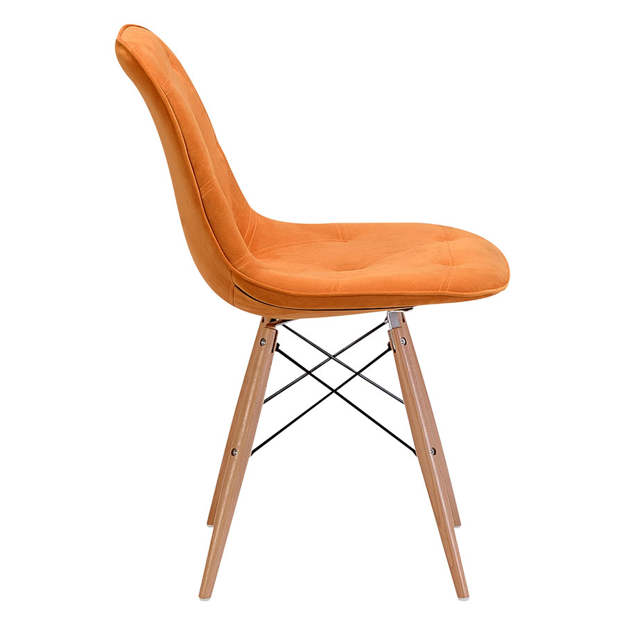 Pavia Orange Tufted Velour Modern Dining Chair