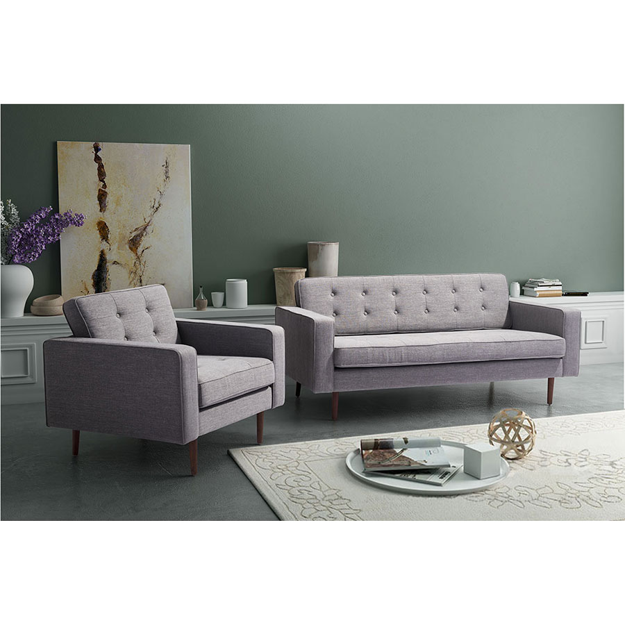 Pekko Gray Tufted Fabric Modern Sofa