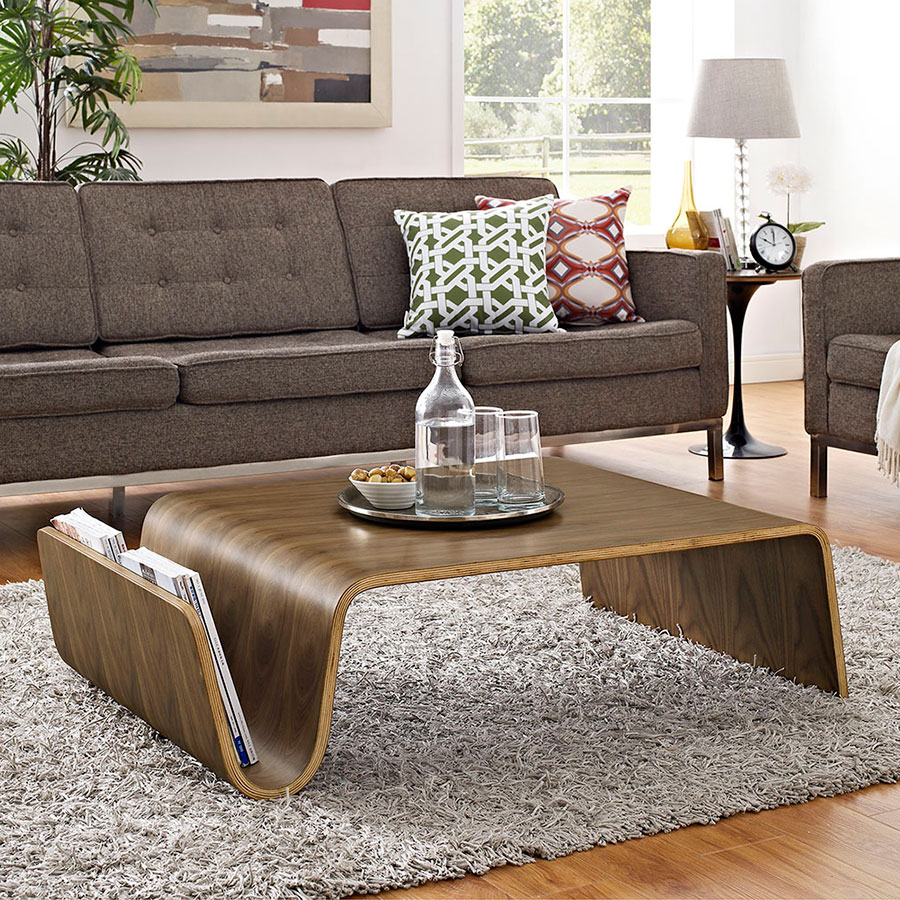 Pemberton Modern Coffee Table + Magazine Rack