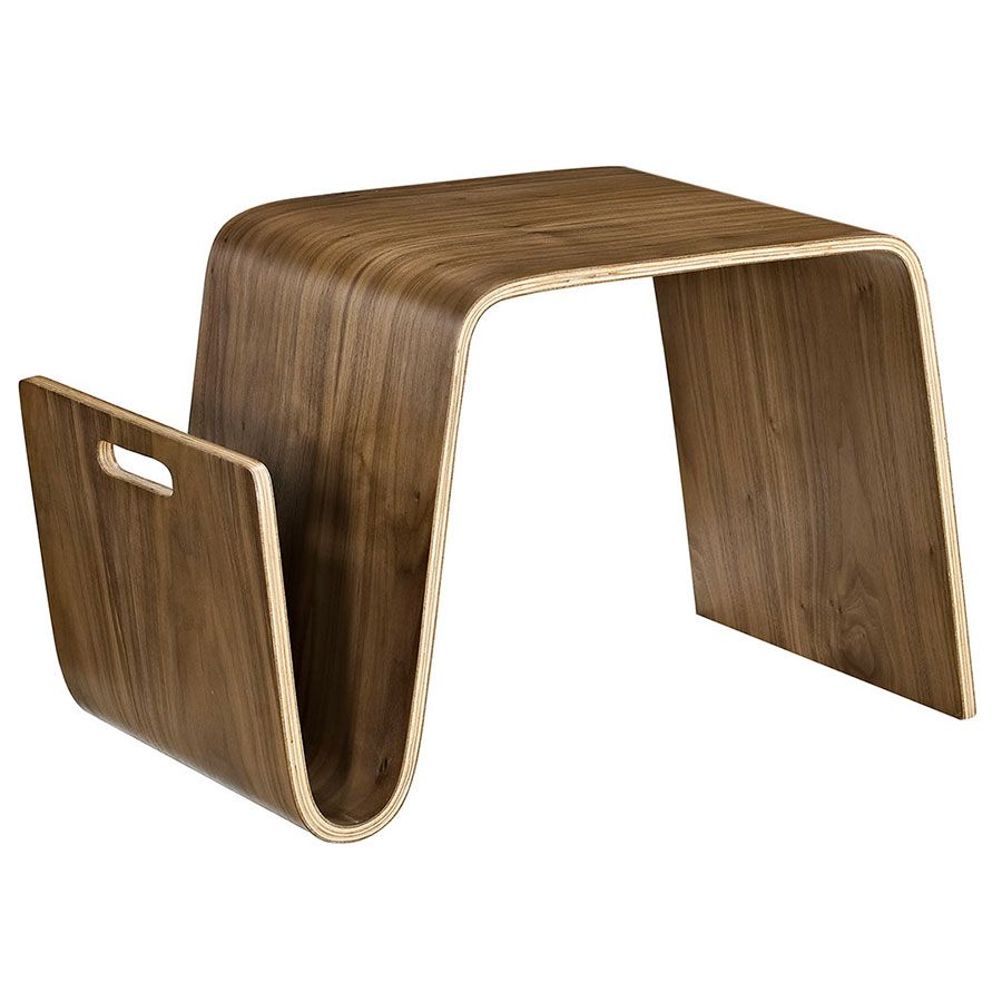 Pemberton Small Modern Walnut Coffee Table w/ Magazine Rack