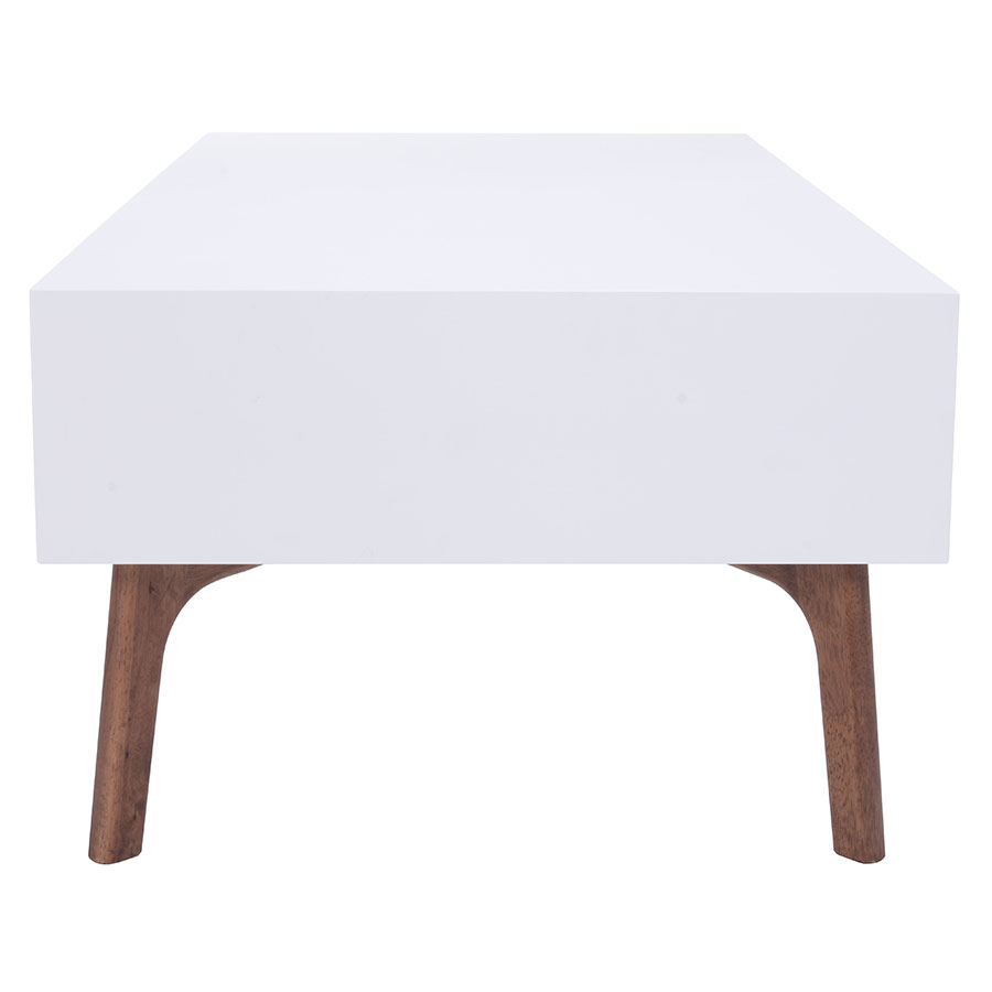 Pericles White + Walnut Contemporary Coffee Table