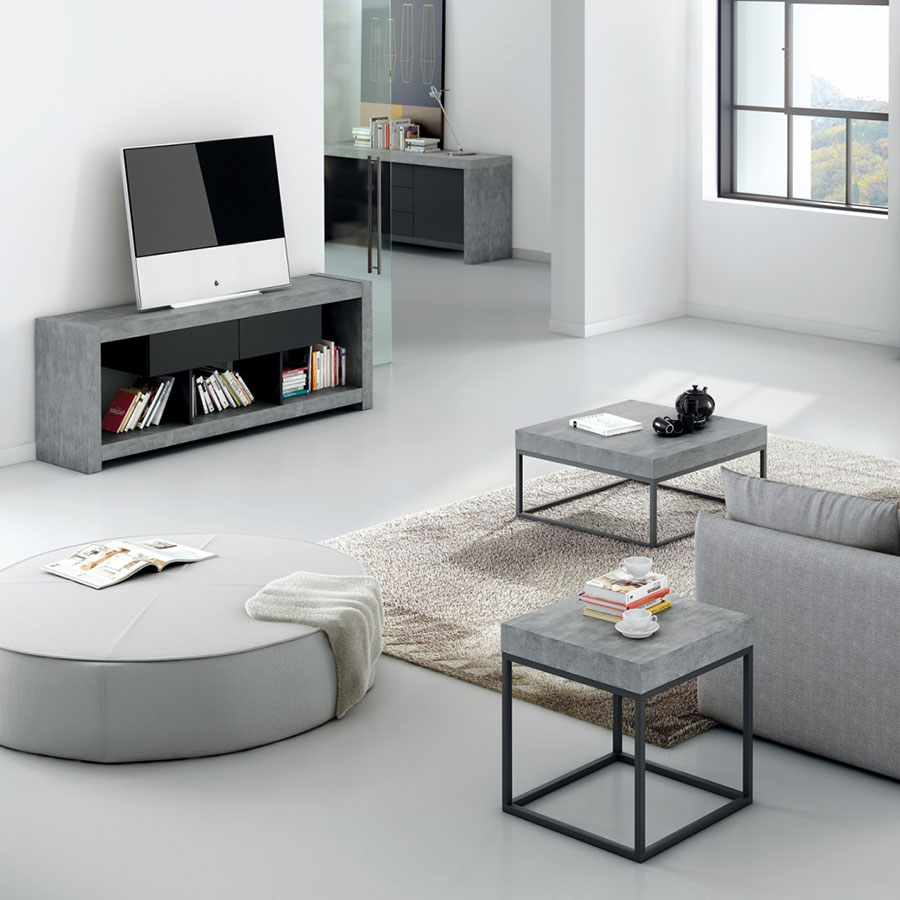 Petra Modern Concrete-Look End Table