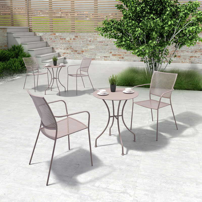 Phoebe Taupe Steel Modern Outdoor Dining Chair
