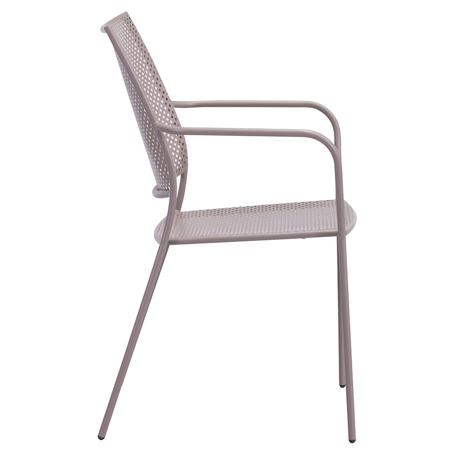 Phoebe Taupe Metal Modern Outdoor Dining Chair
