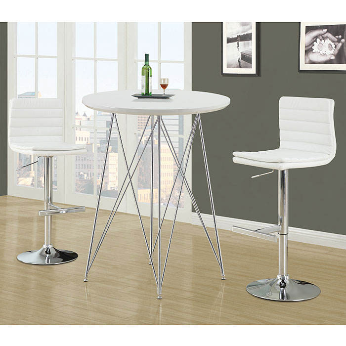 Phoenix Contemporary White + Chrome Bar Table
