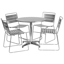 Pierce Indoor/Outdoor Silver Chairs w/ Calais 31.5 Round Table