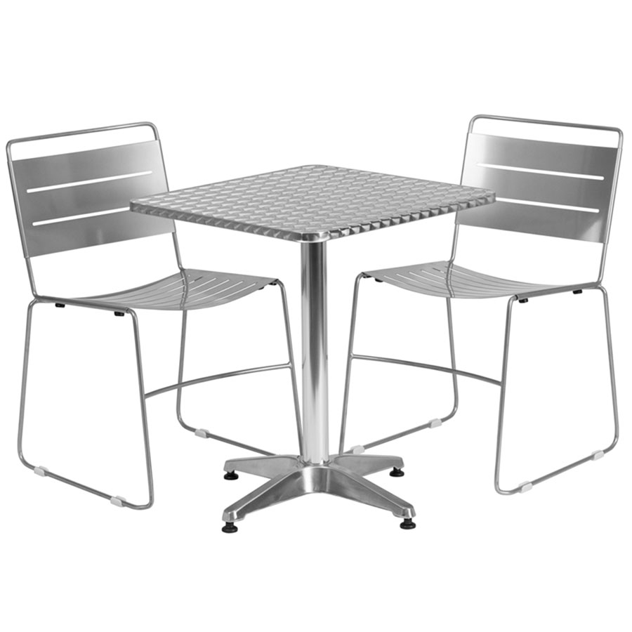 Pierce-Calais Silver Square Bistro Set