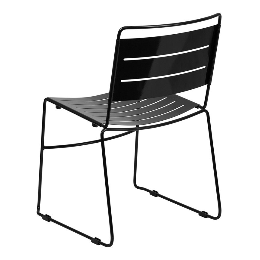 Pierce Modern Indoor/Outdoor Dining Chair in Black - Back View