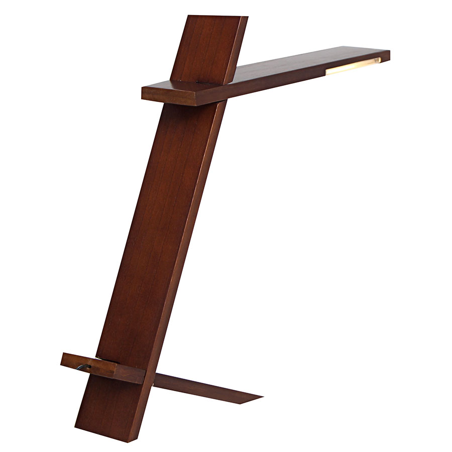 Placid Walnut Finish Wood LED Contemporary Desk Lamp
