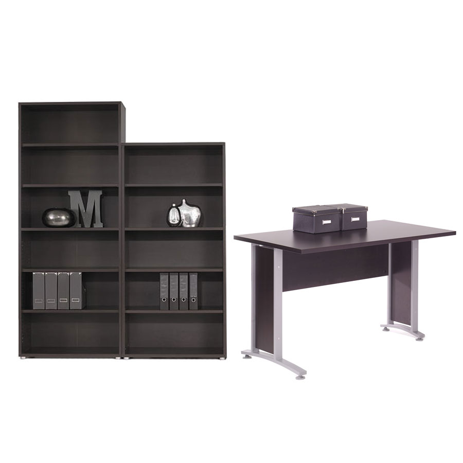 Prague Modern Coffee Desk + Bookcase Set