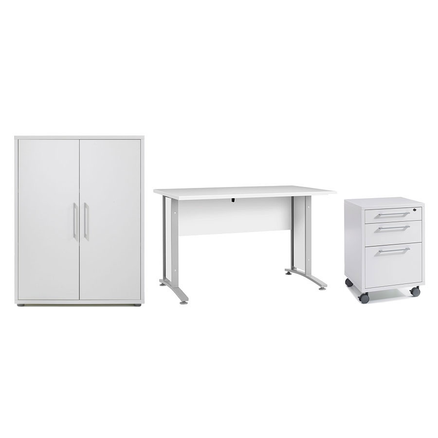 Prague Modern White Desk, File + Bookcase Set