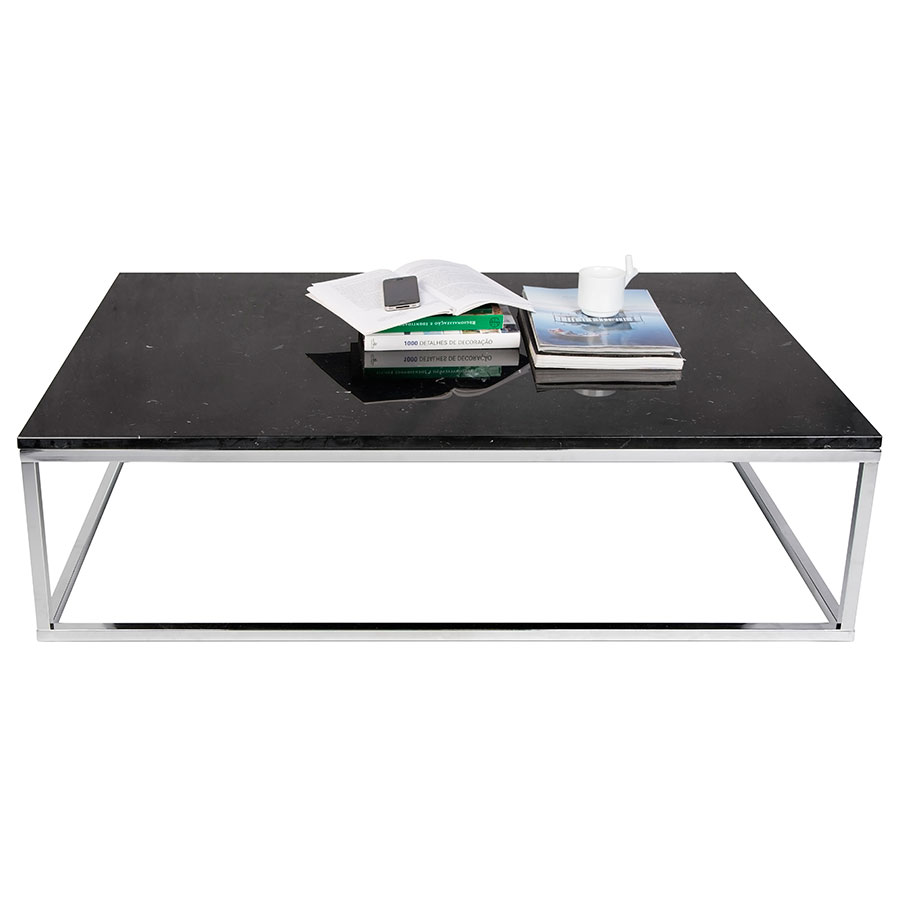 Prairie Black + Chrome Marble Contemporary Coffee Table Dressed