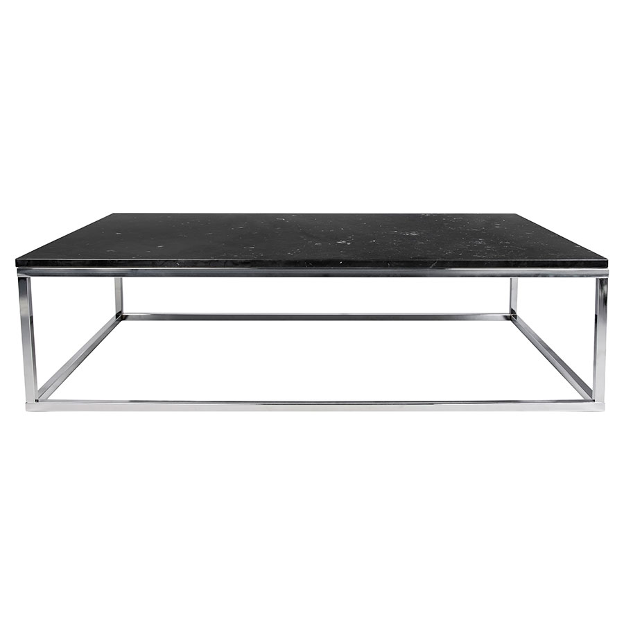 Prairie Black + Chrome Marble Contemporary Coffee Table Front