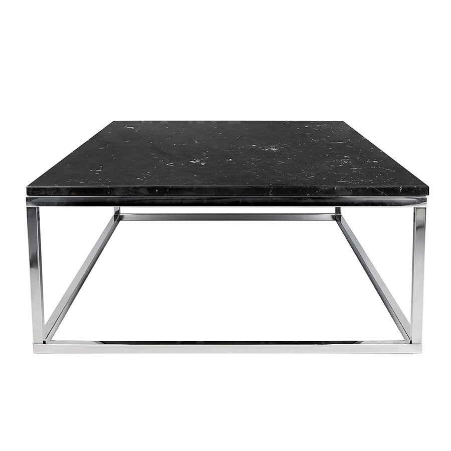 Prairie Black + Chrome Marble Contemporary Coffee Table Side