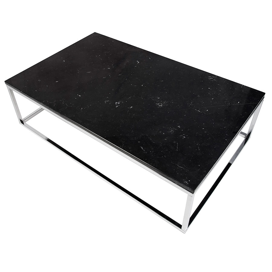 Prairie Black + Chrome Marble Contemporary Coffee Table Up