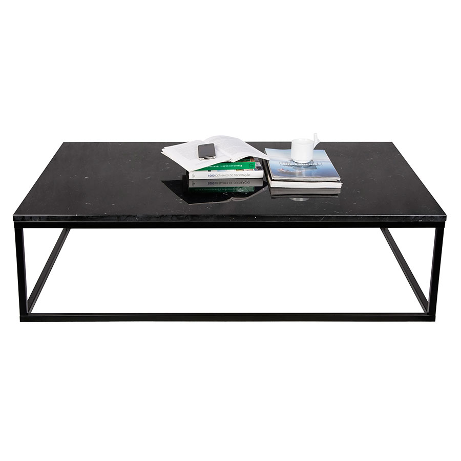 Prairie Black Marble Contemporary Coffee Table Dressed