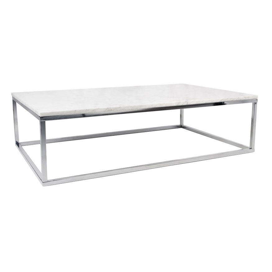 Prairie White + Chrome Marble Contemporary Coffee Table