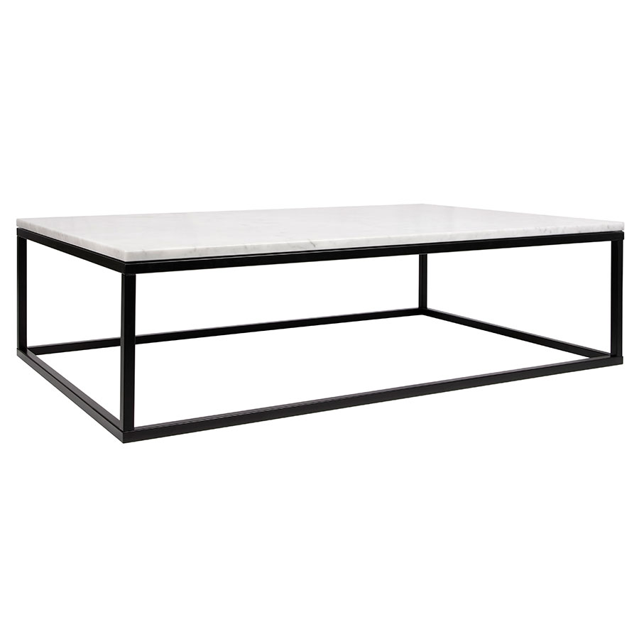 Prairie White Marble Contemporary Coffee Table
