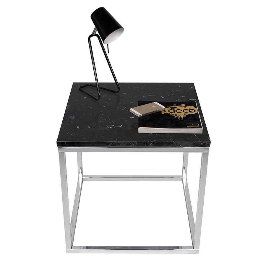 Prairie Black + Chrome Marble Contemporary End Table Dressed
