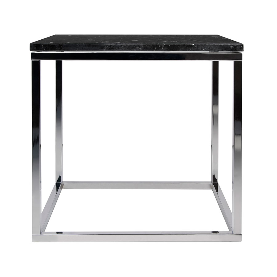 Prairie Black + Chrome Marble Contemporary End Table Front
