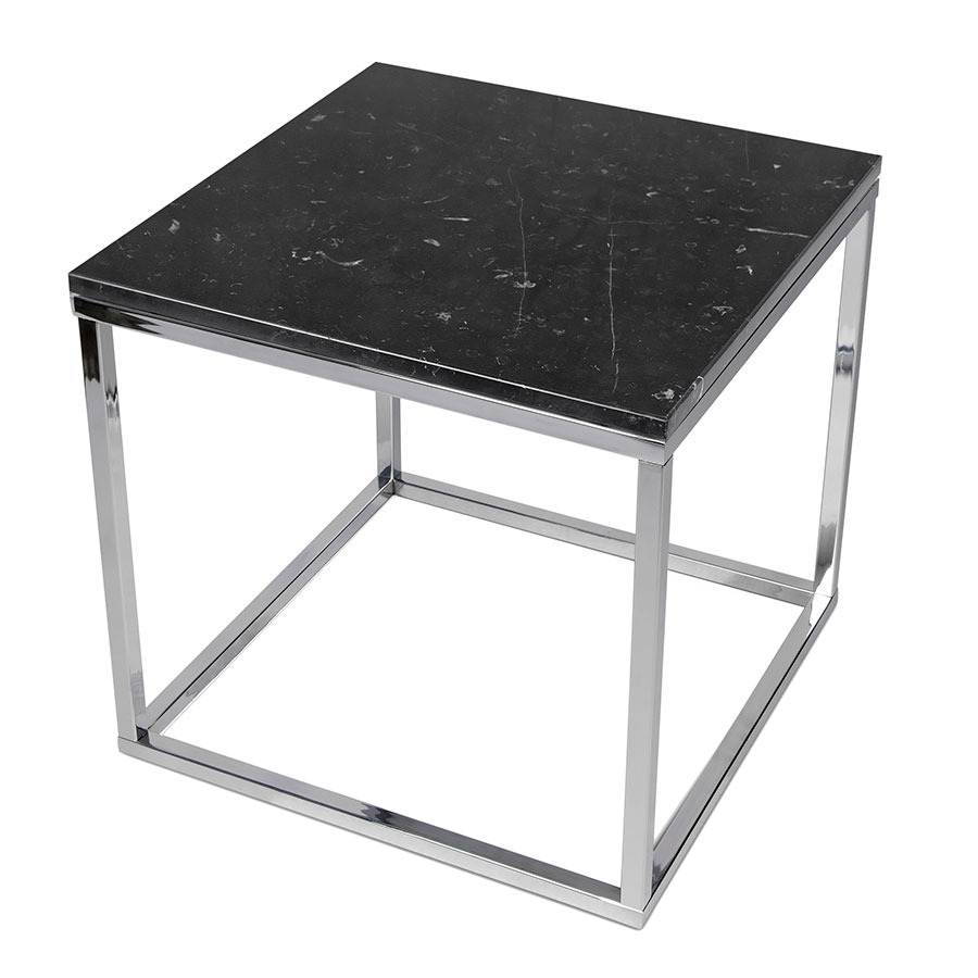 Prairie Black + Chrome Marble Contemporary End Table Up