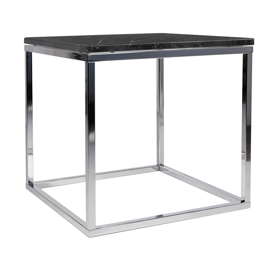 Prairie Black + Chrome Marble Contemporary End Table