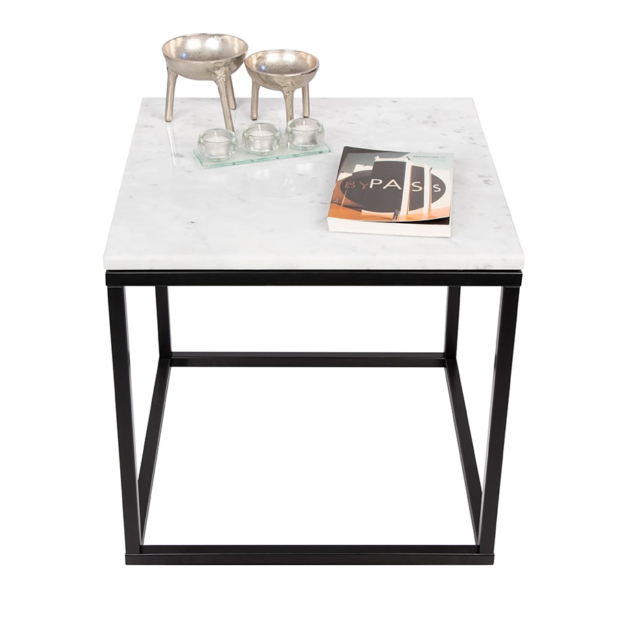 Prairie White Marble Contemporary End Table Dressed