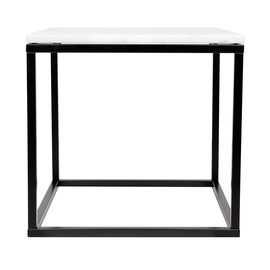 Prairie White Marble Contemporary End Table Front