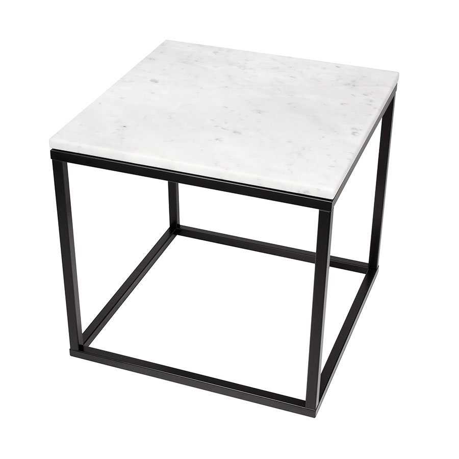 Prairie White Marble Contemporary End Table Up