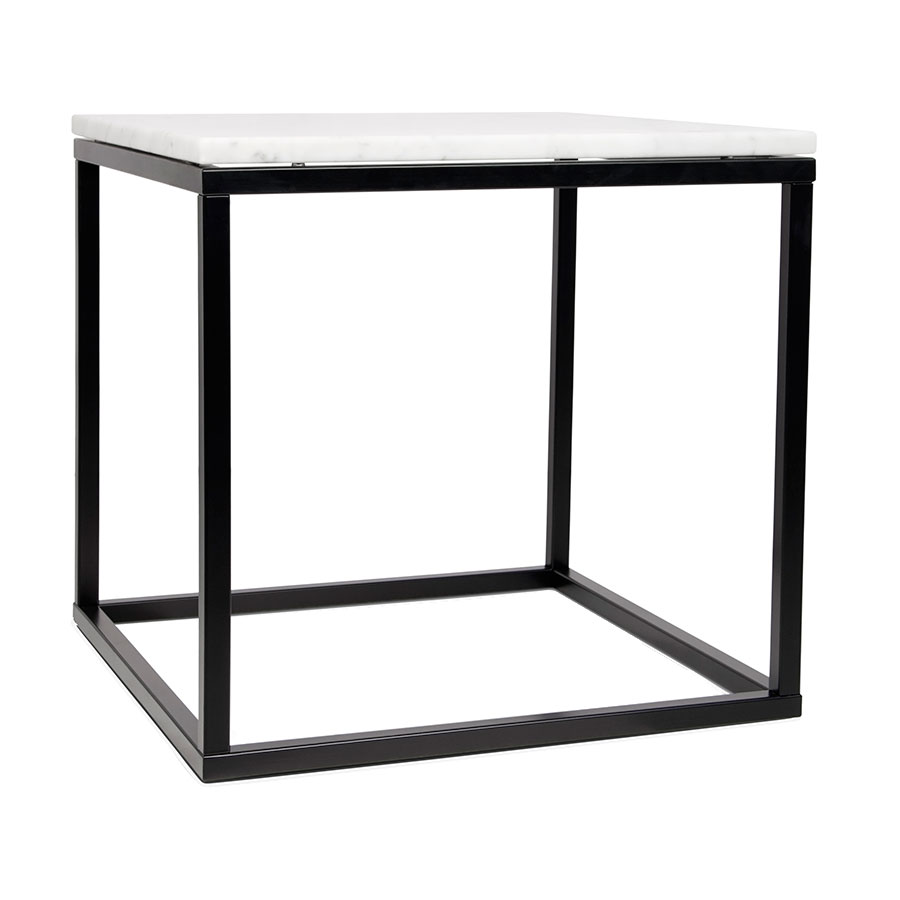 Prairie White Marble Contemporary End Table