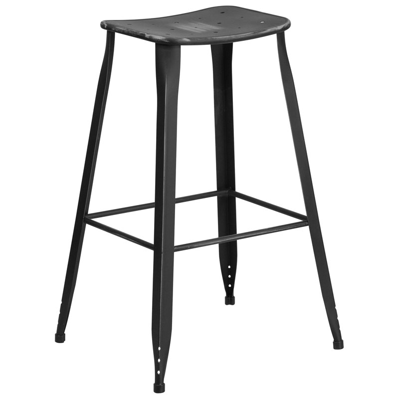 Premier Distressed Black Indoor Outdoor Bar Stool