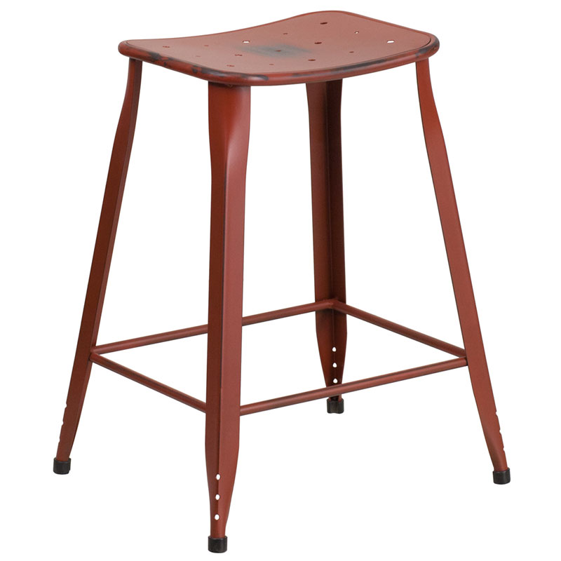Premier Distressed Dark Red Indoor Outdoor Counter Stool