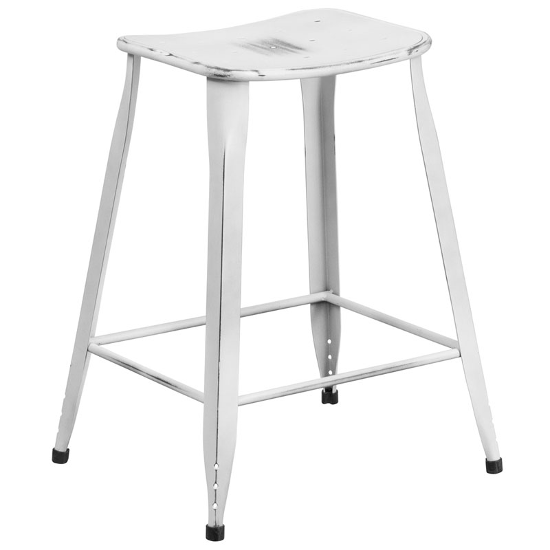 Premier Distressed White Indoor Outdoor Counter Stool