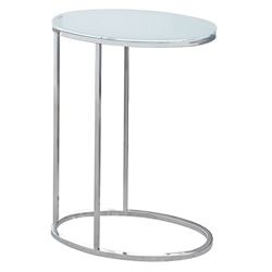 Prescott Modern Frosted Glass Oval Accent Table