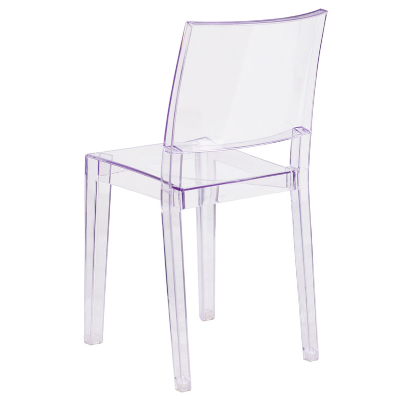Prevail Modern Transparent Stacking Chair - Back View