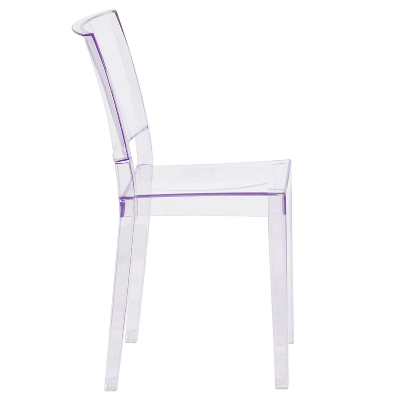 Prevail Modern Transparent Stacking Chair - Side View