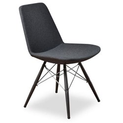 Prosper Modern Classic Dining Chair in Gray Wool