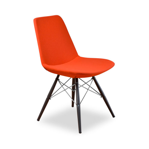 Prosper Modern Classic Dining Chair in Orange Wool