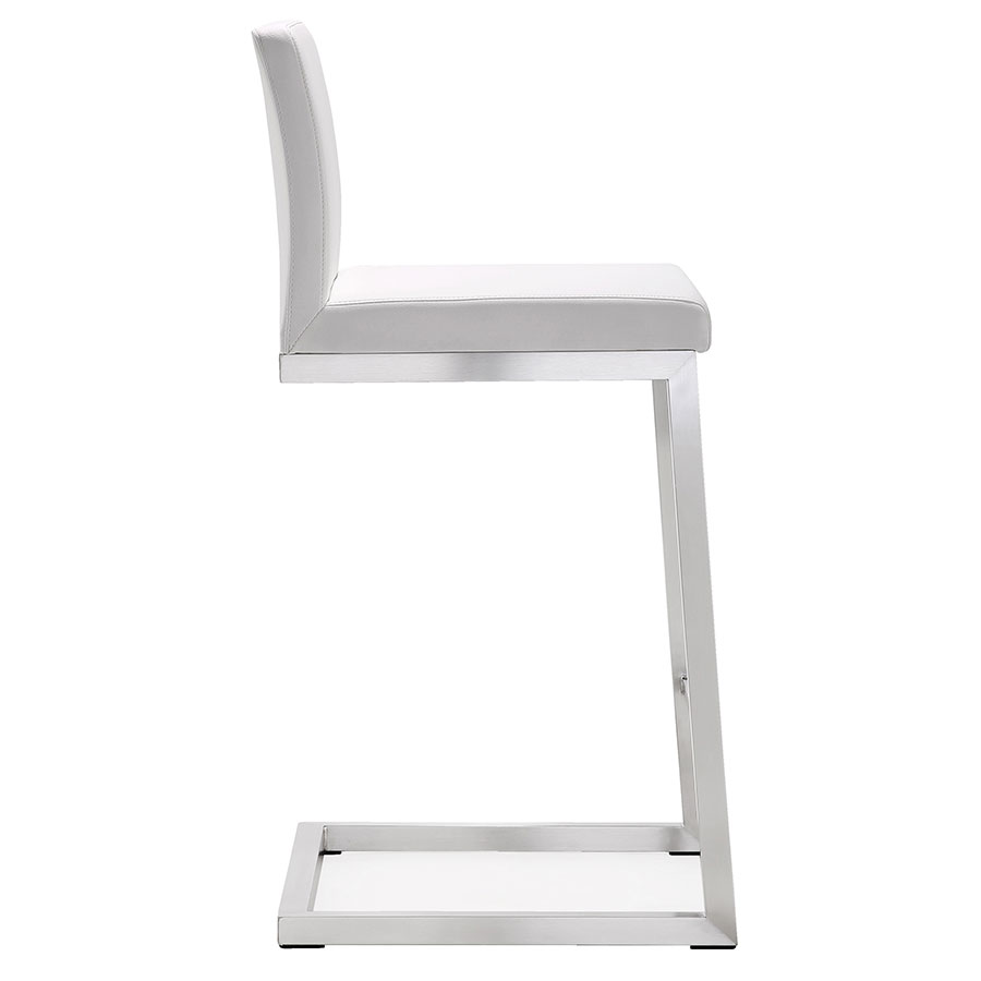Provence Modern White Counter Stool - Side View
