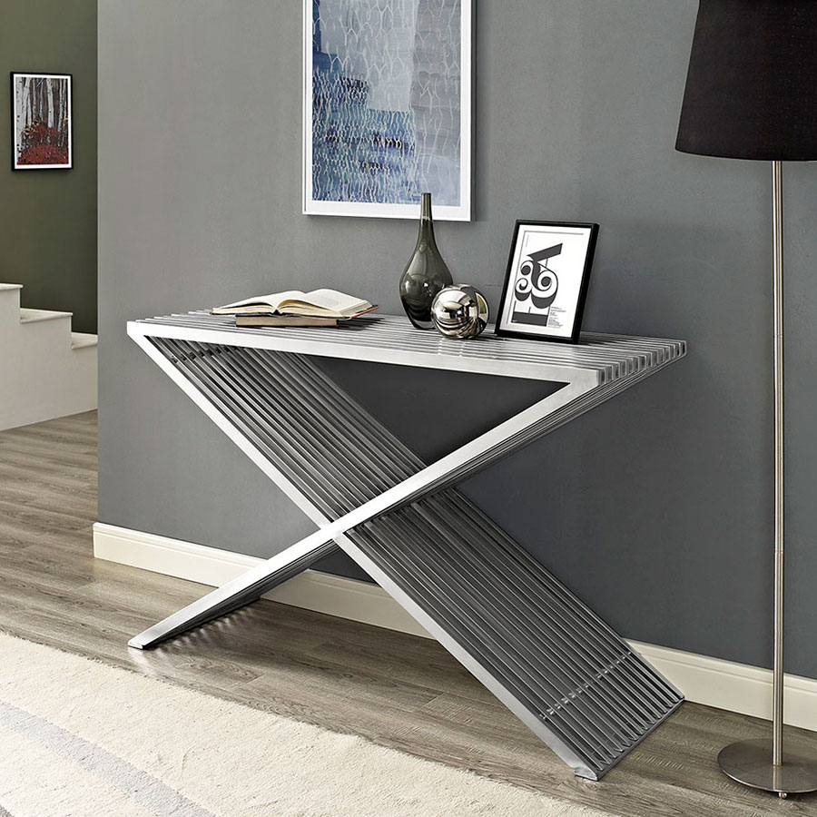 Purdue Modern Brushed Metal Console Table