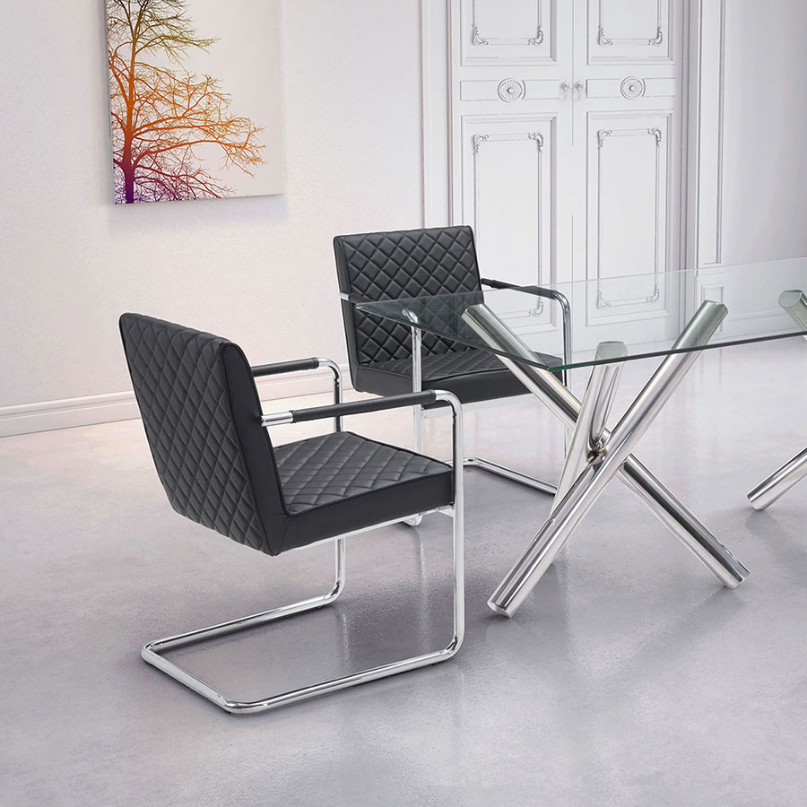 Quentin Black Quilted Leatherette + Polished Steel Modern Arm Chair