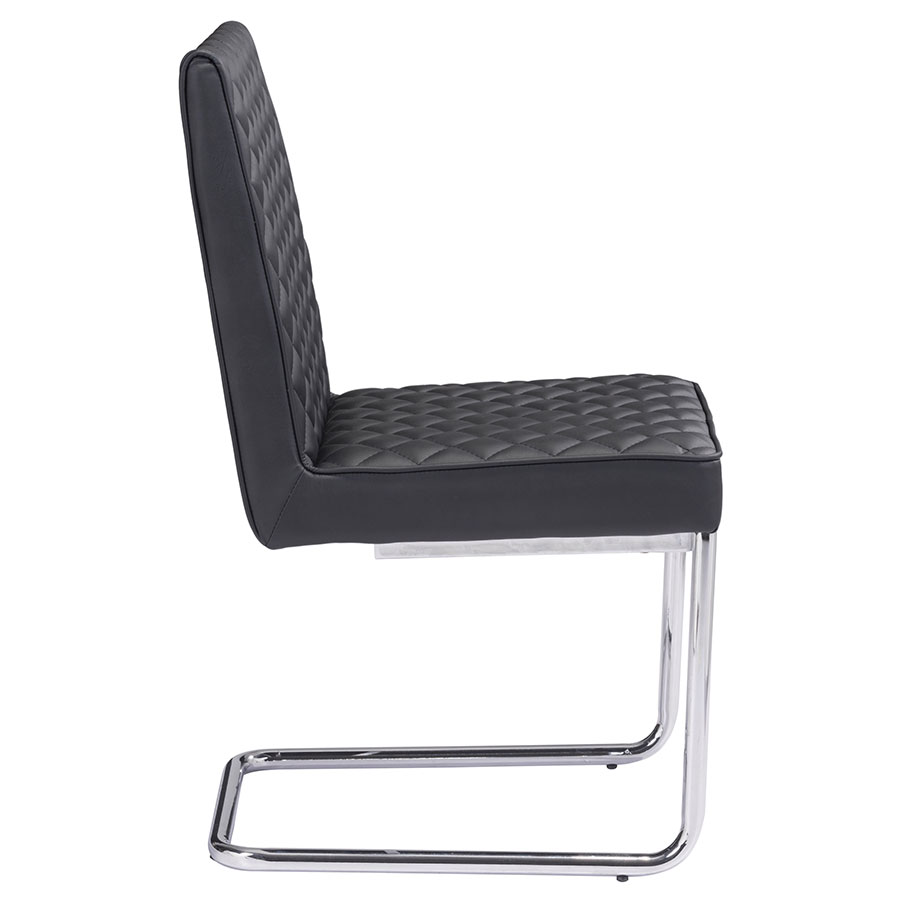 Quentin Black Quilted Modern Side Chair