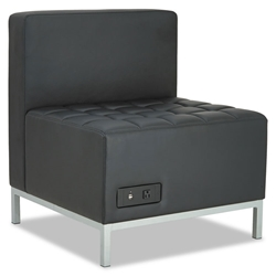 Quest Modern Black Leatherette Powered Armless Chair
