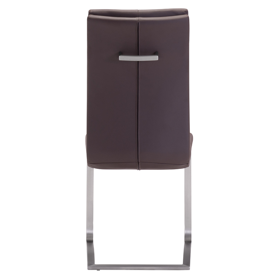 Radka Brown Leatherette + Chrome Contemporary Dining Chair